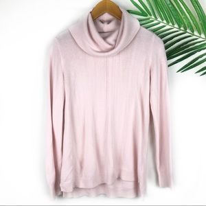 Roz & Ali Light Pink Turtleneck Sweater Medium